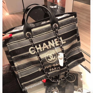 Chanel Gray/Dark Gray/Black Canvas Deauville Shopping Bag