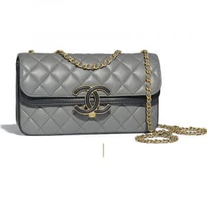 Chanel Gray/Navy Blue Lambskin Small Flap Bag