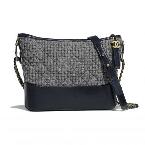 Chanel Gray/Navy Blue Tweed Gabrielle Hobo Bag