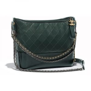 Chanel Green Aged Calfskin Gabrielle Hobo Bag