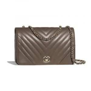 Chanel Khaki Chevron Statement Large Flap Bag