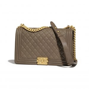 Chanel Khaki Quilted New Medium Boy Flap Bag