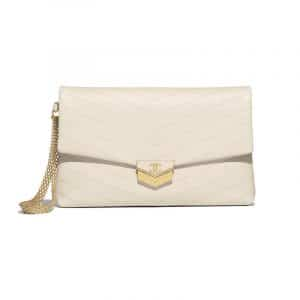 Chanel Light Beige Chevron Calfskin Medium Clutch Bag