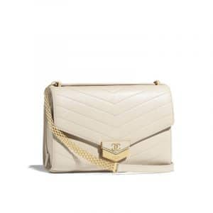 Chanel Light Beige Chevron Calfskin Small Flap Bag