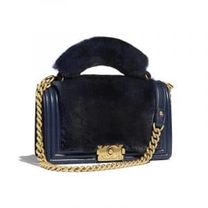 Chanel Navy Blue Boy Orylag Old Medium Flap Bag