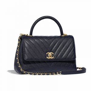 Chanel Navy Blue Calfskin:Lizard Medium Coco Handle Bag