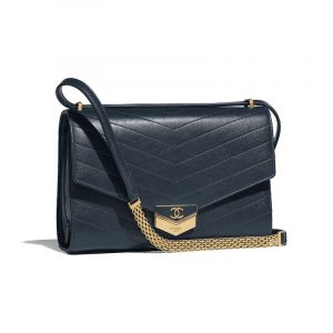 Chanel Navy Blue Chevron Calfskin Medium Flap Bag