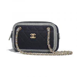 Chanel Navy Blue Felt Camera Case Bag