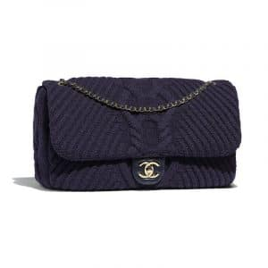 Chanel Navy Blue Knit Flap Bag