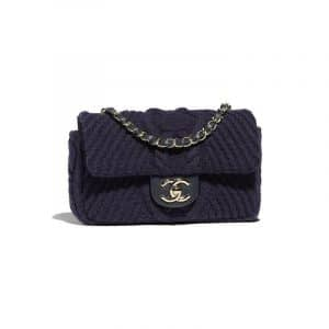 Chanel Navy Blue Knit Mini Flap Bag