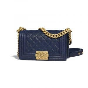 Chanel Navy Blue Quilted Small Boy Flap Bag