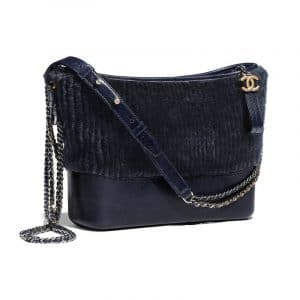 Chanel Navy Blue Shearling Sheepskin Gabrielle Hobo Bag