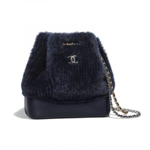 Chanel Navy Blue Shearling Sheepskin Gabrielle Small Backpack Bag