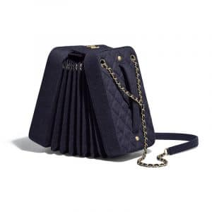 Chanel Navy Blue Wool Accordion Bag