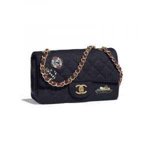Chanel Navy Blue Wool with Charms Mini Flap Bag