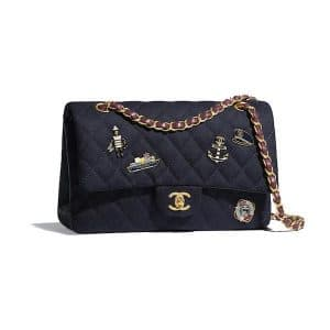 Chanel Navy Blue Wool with Charms Small Flap Bag