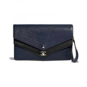 Chanel Navy Blue/Black Chevron Sheepskin Clutch Bag