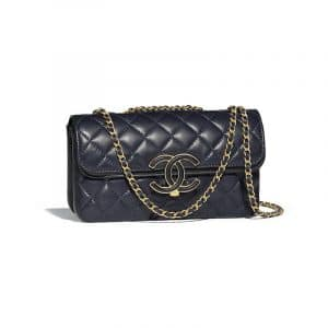 Chanel Navy Blue/Black Lambskin Small Flap Bag