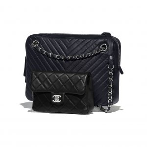 Chanel Navy Blue/Black Quilted:Chevron Calfskin Camera Case Bag
