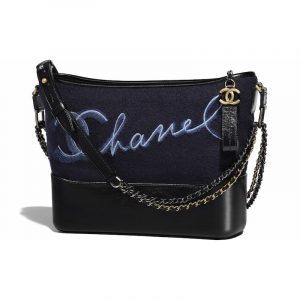 Chanel Navy Blue/Blue Embroidered Wool Gabrielle Hobo Bag