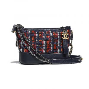 Chanel Navy Blue/Orange/Red/White Tweed Small Gabrielle Hobo Bag