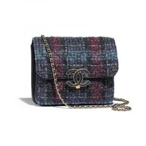 Chanel Navy/Blue/Green/Red Tweed Flap Bag