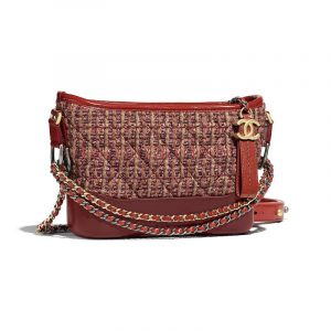 Chanel Orange/Burgundy Tweed Small Gabrielle Hobo Bag
