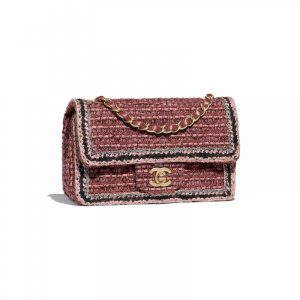 Chanel Pink/Purple Tweed Mini Classic Flap Bag