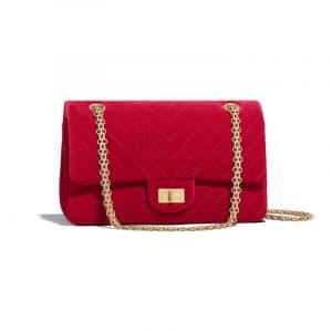 Chanel Red Velvet Chevron 2.55 Reissue Size 225 Bag