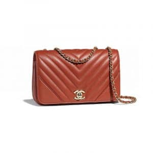 Chanel Rust Chevron Statement Small Flap Bag