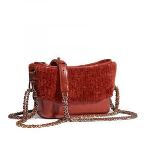 Chanel Rust Shearling Sheepskin Gabrielle Small Hobo Bag