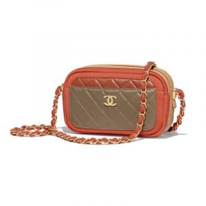Chanel Rust/Beige/Khaki/Red Lambskin:Jersey Mini Camera Case Bag