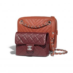 Chanel Rust/Burgundy Quilted/Chevron Calfskin Small Camera Case Bag