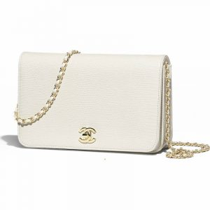 Chanel White Lizard Mini Flap Bag