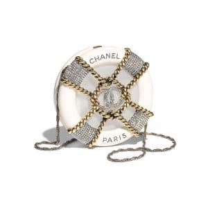 Chanel White Resin/Strass Minaudiere Bag