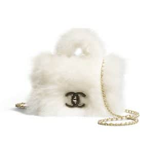 Chanel White Shearling Sheepskin Flap Bag with Top Handle