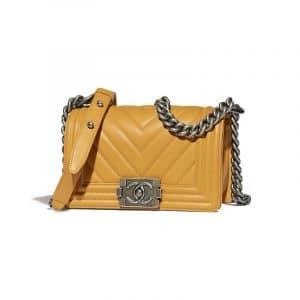 Chanel Yellow Chevron Small Boy Flap Bag