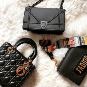 Dior Black J'adior with Multicolor J'adior Canvas Strap