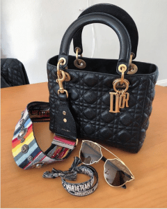 Dior Black Lady Dior with Multicolor Embellished Canvas Strap