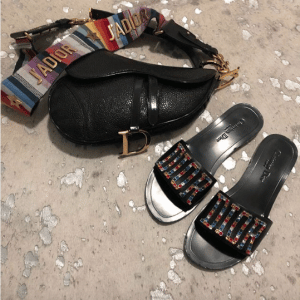 Dior Black Saddle Bag with Multicolor J'adior Canvas Strap