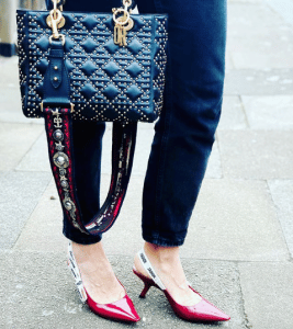 Dior Black Studded Lady Dior with Bohemian Canvas Strap