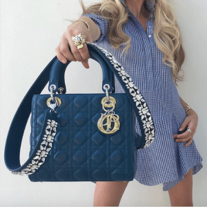 Dior Blue Lady Dior with Embellished Strap