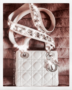Dior White Lady Dior with Embellished Strap