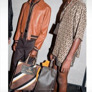 Fendi Brown Striped Tote Bag - Spring 2019