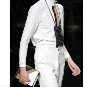 Fendi White FF/Striped Clutch Bag - Spring 2019