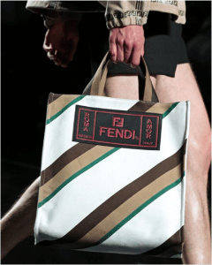 Fendi White/Brown Striped Tote Bag - Spring 2019