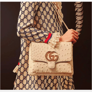 Gucci White Ostrich Flap Bag - Cruise 2019