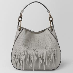 Bottega Veneta Cement Intrecciato Brio Small Loop Bag