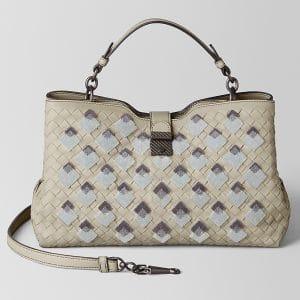 Bottega Veneta Cement Intrecciato Velvet Napoli Bag