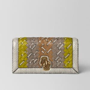Bottega Veneta Chamomile Intrecciato Club Stitch Knot Clutch Bag